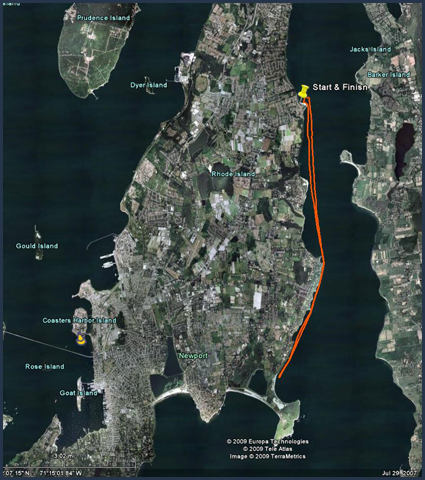 Click to download the Sakonnet River Race Google Earth Course